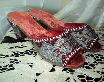 "Antique Art Deco Beaded Velvet Shoes Mules Custom for ""Lucille"" Excellent condition"