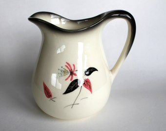 Vintage 1960's Mid Century Modern Ceramic Pitcher with Pink and Black Flower Motif!