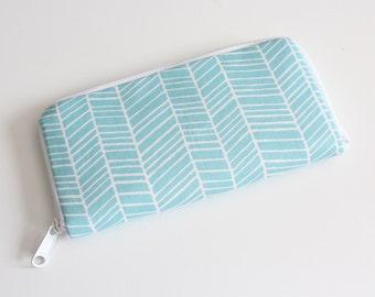 Womens zip around wallet / Checkbook Wallet / Cell Phone Wallet / Passport Wallet / Credit Card Wallet / Accordian wallet / Aqua herringbone
