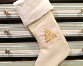 Leather Embroidered Pocket Christmas Stocking