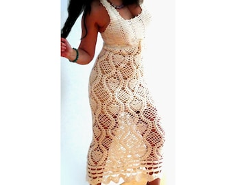 Lace crochet maxi dress- Fitted spring long dress- Sexy off white wedding dress- Size Small -Casual, fashion, boho women beach dress