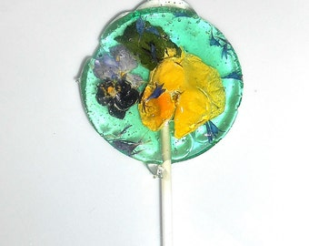 COTTON CANDY LOLLIPOPS, Aqua, Teal, English Garden Theme,Mint Leaf, Bachelor Buttons, Violas, Gift Box, Kosher Candy, Holiday Gift