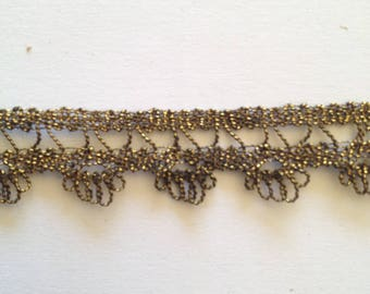 Vintage metal wire lace, old gold 1930