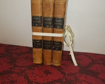 Decorative Antique Leather Bound Books - 1830 - Great for Decor or Centerpiece