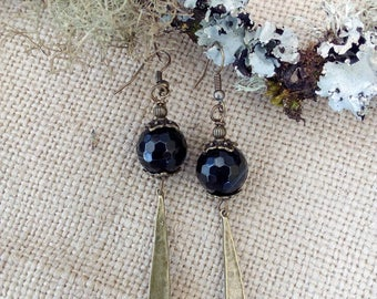 Bronze earrings with faceted black agates