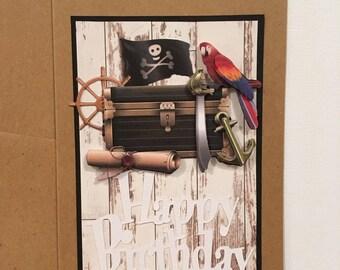 """Happy birthday"" birthday card for boy - pirate Theme"