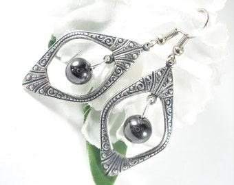 Tribal Earrings w Hematite Beads, Boho Chic Gypsy Earrings, Hematite Earrings, Bohemian Jewelry, Womens Jewelry, Lightweight Gypsy Jewelry