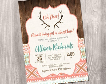 Deer baby shower invitation, baby deer invitation, oh deer baby shower, woodland baby shower, rustic, digital, Printable Invitation