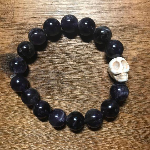 Halloween Amethyst Bracelet with Skull Charm