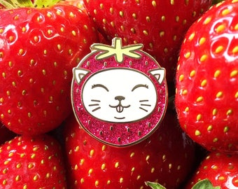 Cat enamel pin, enamel pin, lapel pin, strawberry enamel pin, cat gifts, cat brooch, cute enamel pins, white cat pin, cat pin, cats