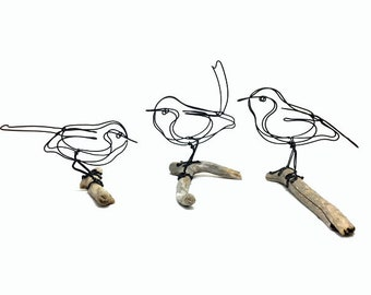 Trio of Wren Wire Sculptures, Bird Wire Art, Songbirds Sculpture, Bird Art, Minimal Art Design, 595568778