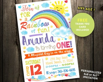 Rainbow Invitation Rainbow Birthday Rainbow party Girl Invite Baby shower first 1st one Colorful printable watercolor instant download cute