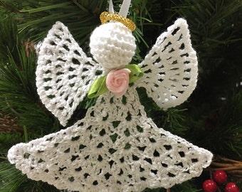 Crochet angel white ornament crochet miniature angel Christmas angel Christmas decoration angel ornament holiday accessory décor Christmas