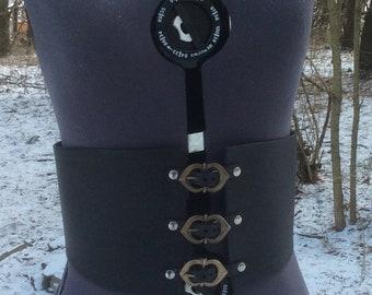 Buckled Black Leather Waist Cincher / Corset Belt