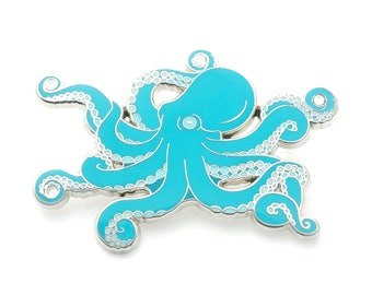 Blue octopus enamel pin (hard enamel pin lapel pin badge enamel cute octopus jewelry cephalopod octopus jewelry cloisonne backpack pin)