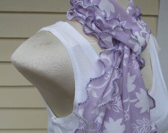 Lavender Violet Ruffled Scarf with White Flowers and Purple Lettuce Edge