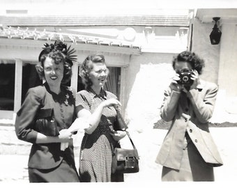 """Vintage Snapshot """"Dueling Cameras"""" Sightseeing Young Women Face Off Old Camera 1940's Fashion Style Found Vernacular Photo"""