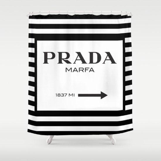 Shower Curtain, Prada Marfa, Prada Marfa Shower Curtain, Fashion Decor, Gossip Girl Decor, Prada Marfa Decor, Black and White Shower Curtain