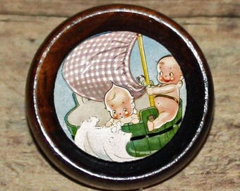 Boat sailing CUPIE DOLL Pendant or Brooch or Ring or Earrings or Tie Tack or Cuff Links