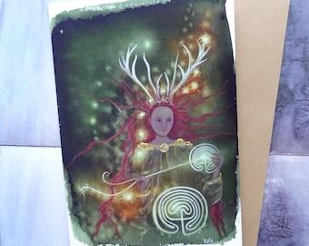 Path Weaver A5 Art Card, Greetings Card, Elen of the Ways, Goddess Elen, Reindeer Goddess, Antlered Goddess, Spiritual, Healing, labryinth