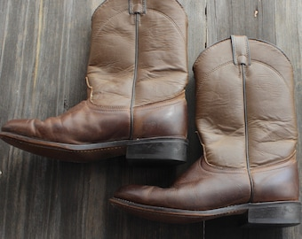 1980s Vintage Leather Brown Laredo Boots/ 80s Vintage Two Toned Laredo Boots/ 80s Laredo Boots/80s Brown Leather Boots