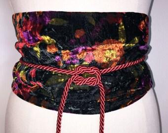 Obi Style Wrap Velvet Cummerbund - Belt with red cord