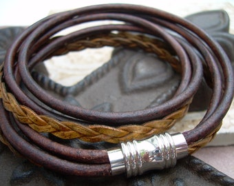 Double Wrap Leather Bracelet with Stainless Steel Magnetic Clasp, Mens Bracelet, Mens Jewelry, Womens Jewelry, Womens Bracelet, Bracelet