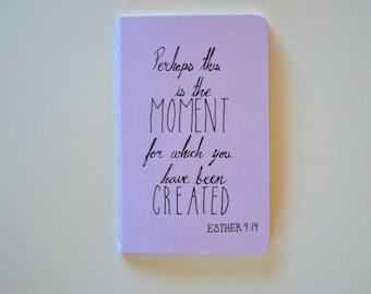 Esther 4:14 Small Moleskine Cahier Purple Journal Bible Notebook Pocket