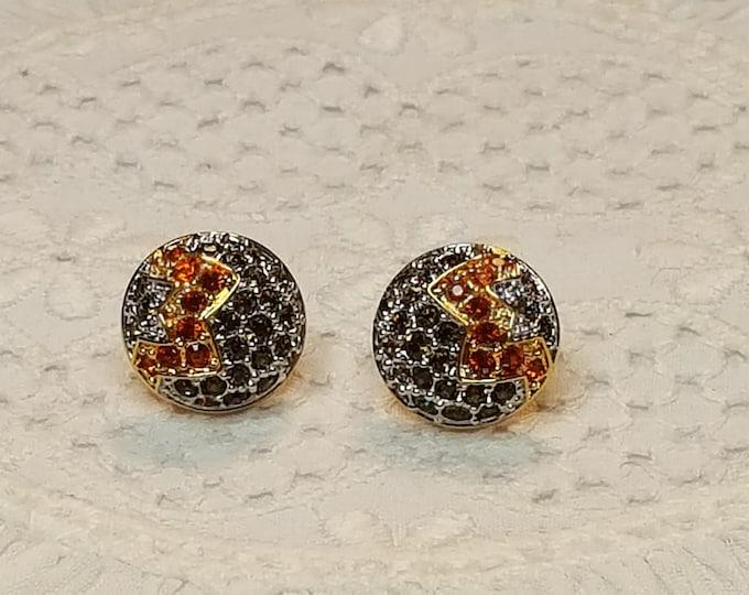 Swarovski Brand Pierced Earrings Round Pavé Stones Colorful Orange Citrine Smokey Topaz Goldtone Silvertone