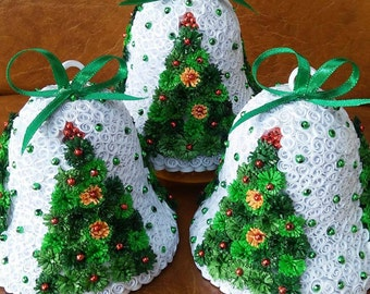 Quilling Christmas tree bells, handmade, SET OF 4