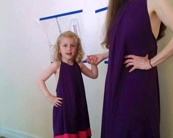 CUSTOM Purple Rayon Sundress, the Adorable Little Girl Version