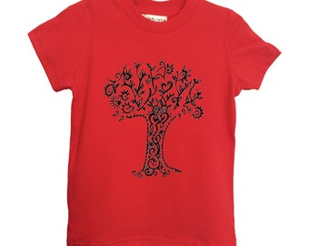 Red Tree Kids Tshirt Size 2 4 6 American Apparel Cotton T2 T4 T6