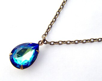 Bermuda blue pear shape crystal necklace / blue rhinestone necklace / mothers day gift / antique bronze chain / gift for her / birthday gift