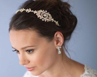 Gold Bridal Headband, Gold Wedding Headband, Gold Headpiece, Rhinestone Bridal Headband, Vintage Headband, Bridal Hair Accessory  ~TI-3168