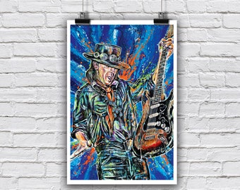 "Art Print  Poster 12 x 18"" - Stevie Ray Vaughan - Blues guitar legend music rock and roll"