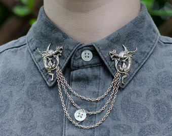 Silver Dragon Collar Chain/ Cardigan Clip