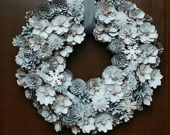 Christmas wreath - White holiday wreath - Natural Christmas decor- Door wreath -Christmas centerpiece - Winter wonderland, Natural wreath