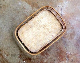 bamboo and rattan tray in miniature!