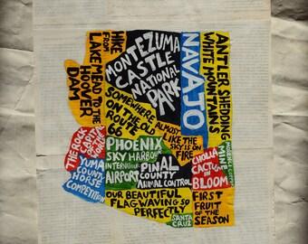 Arizona Map Wall Art | AZ poster | acrylic painting | home decor, map of Arizona