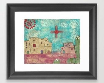 Santa Fe print, landscape art, mixed media print, Southwest art print, desert art print, home decor, wall art, wall decor, Southwest decor