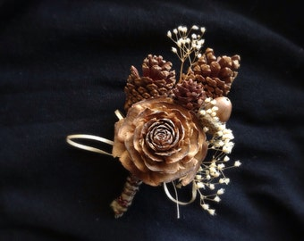 Pine Cone Boutonniere, groom lapel pin, country wedding, groom corsage, rustic boutonniere, rustic wedding, winter boutonniere