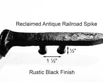 "1 1/2"" Left Black Railroad Spike Cupboard Handle Dresser Drawer Pull Cabinet Knob Antique Vintage Old Rustic Re-purposed House Restoration"