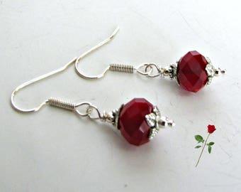 Beaded Red Dangle Earrings, Holiday Earrings, Christmas Earrings, Bridesmaid Earrings. Tibetan Silver bead caps, Surgical Steel Wires #1260