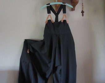 Quirky,Lagenlook ,Balloon shaped  dungarees .overalls in black pin stripe, real leather braces, UK 14/16 or US 12/14
