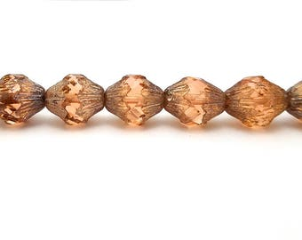 Set of 6 Large Peach Czech Glass Bicone Beads 13x11MM baroque picasso (H6028)