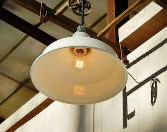 Pendant Light White Enamel Small, Industrial Light, Restaurant Light, Vintage Benjamin, Enamel Light Fixture, Porcelain Light, Barn Light