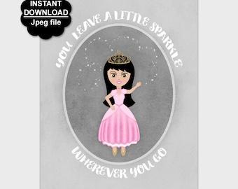 Princess Wall Art Printable, Sparkle Quote, Pink Gray Nursery Decor, Girl's Nursery Print, Princess Wall Decor, 8x10 11x14, Instant Download