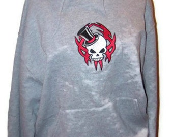 Goth Hoodie Adult Medium SKULL with Top Hat Embroidered Hooded Sweatshirt Unisex Sizing - Ready to Ship