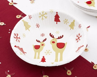 Rudolf the red nose reindeer paper bowls- Christmas bowls-Christmas dinner-Christmas party- party supplies