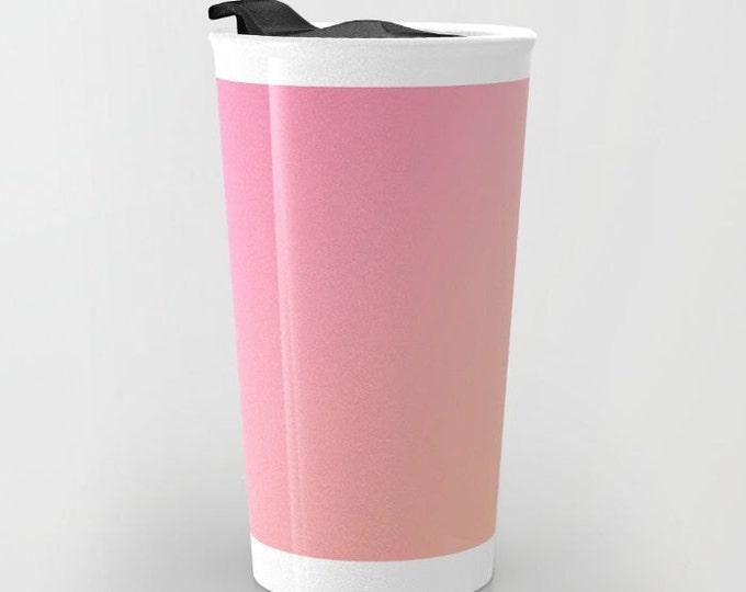 Pink to Orange Ombre Travel Mug Ceramic - Coffee Travel Mug - Hot or Cold Travel Mug - 12oz Travel Mug -Made to Order
